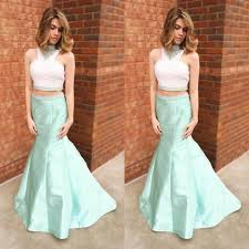 beading high neck mermaid satin two pieces prom dresses 2017