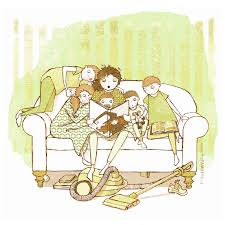 Couch Drawing October Mom Reading Witch Book To Kids Boy Couch Living Room