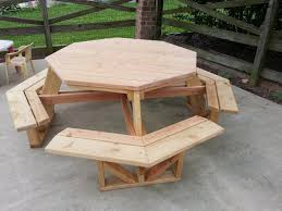 Free Hexagon Picnic Table Designs by Furniture Ideas Octagon Patio Table With Colorful Flower Decor