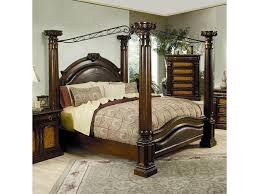 brown wooden king size canopy bed frame with a good style bedroom