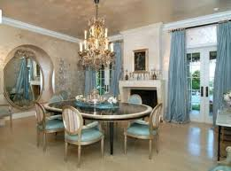 large formal dining room with elegant chairs glass table and