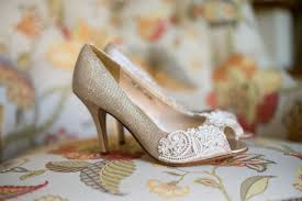 wedding shoes embellished heel wedding shoes gold chagne silver metallic peep toe high heels