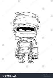 standing mummy halloween monster cartoon vector stock vector