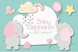 baby elephant clipart by poppymoon design thehungryjpeg com