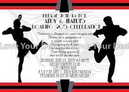 great gatsby roaring 20 u0027s flapper couple birthday party invitation