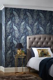 bedroom peacock wallpaper design by arthouse called lazzaro