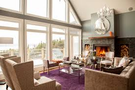 flooring purple rug with bay windows and table lamps also crystal