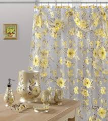 Yellow Wastebasket 7 Piece Melrose Yellow Shower Curtain Shower Hooks And Resin