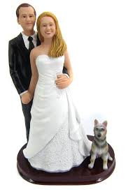 custom wedding cake toppers custom and groom wedding cake toppers with a dog