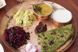everyday meal plate beetroot poriyal spinach paratha gujarati dal