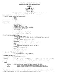 Resume Help by Exclusive Sample Resume For College Application 2 College