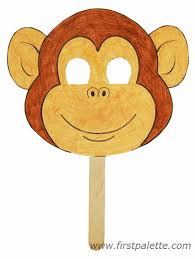 Paper Plate Monkey Craft - printable animal masks craft crafts firstpalette
