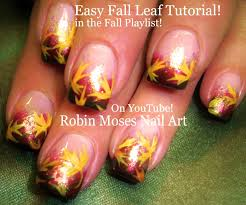 easy autumn leaves pretty fall leaf nails art design tutorial
