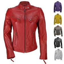 biker jacket ladies womens genuine real leather vintage slim fit red brown