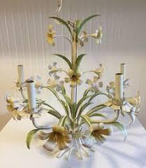 Tole Chandelier Fabulous Vintage Italian Tole Flower Chandelier With Porcelain