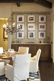 picture frame collage dining room rustic with table setting dark floor