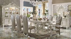11 dining room set acme 61130 versailles 9pcs bone white rectangular dining table set
