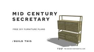 Secretary Desk Plans Woodworking Free by Free Diy Furniture Plans How To Build A Mid Century Secretary