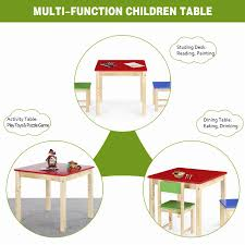 ikayaa cute wooden kids table solid pine wood square toddler