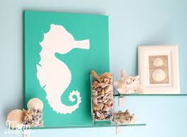 Beach Bathroom Decor Ideas Colors Diy Beach Themed Art On Canvas Using Seahorse Motif Beachart