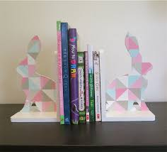 bunny bookends geometric bunny bookend set handpainted modern kids decor