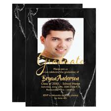 graduation photo cards black marble with faux gold photo graduation party card