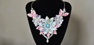 pink collar necklace images How to make a handmade ribbon flower collar necklace with pearls jpg