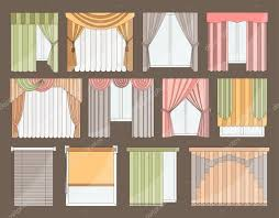 different curtains and blinds for interior design u2014 stock vector