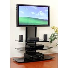 transdeco black glass tv stand with integrated flat panel mount
