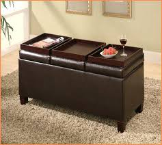 leather ottoman with 4 tray tops storage bench coffee table tag