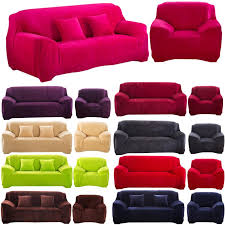 Plush Sofa Cover Thicken Plush Sofa Cover Solid Colour Slipcover Sofa Cushion