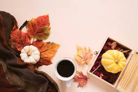 flatl lay style of autumn and thanksgiving with pumpkin coffee