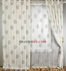 Cotton Drapery Panels Graceful Grey Floral Printed Embossed White Lined Cotton Curtains