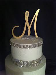 gold monogram cake toppers painted single monogram cake topper gold cake topper silver cake