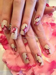 freehand one stroke nail art beige with pink and black flowers