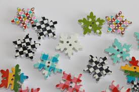 colorful snowflake buttons dyed wooden snowflake shape buttons