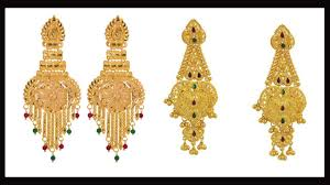 wedding paty wear gold earrings designs with weight