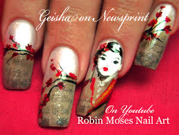nail art japanese geisha newspaper nails cherry blossom nail