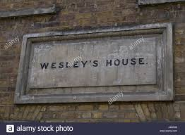 garden at wesley house by the tatue of john wesley founder of the
