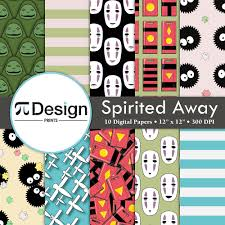 spirited away characters inspired digital paper pack of 10