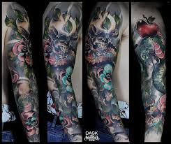 neotraditional color full sleeve tattoo from dask sake tattoo crew