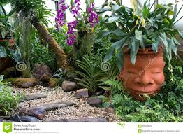 Tropical Rock Garden Rock Gravel Rectangular Plate In The Tropical Garden