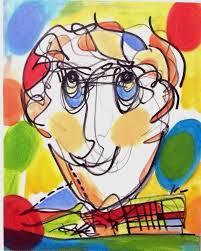 original face painting wise man portrait postmodern art color
