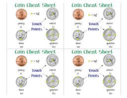 Coin Worksheets Touch Money Awesome Cheat Sheet Secondgradesquad Com