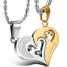 couple chain necklace images Yutii our heart two piece 316 stainless steel couple pendant jpg