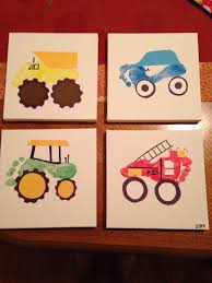 footprint turned into cars and trucks and tractors kiddos not