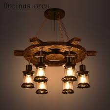 Wood Chandeliers American Style Retro Industrial Wind Ship Rudder Solid Wood