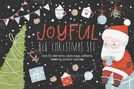 merry set illustrations creative market