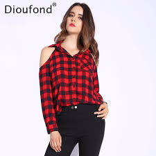 shoulder tops dioufond plaid shoulder tops shirts for women