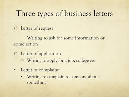three types of business letters the letter sample